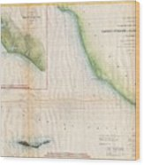1857  Coast Survey Map Of The Eastern Entrance To Santa Barbara Channel Wood Print