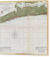 1857 U.s. Coast Survey Map Or Chart Of Mississippi City Harbor, Mississippi Wood Print