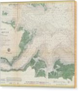 1857 U.s. Coast Survey Map Or Chart Of The Entrance To The York River, Virginia Wood Print