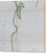 1857 U.s.c.s. Map Of San Francisco Bay Wood Print