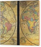 1858 Set Of Two Pelton Wall Maps, Western Hemisphere And Eastern Hemisphere  Wood Print