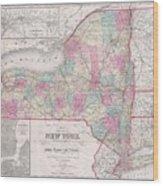 1858 Smith - Disturnell Pocket Map Of New York Wood Print