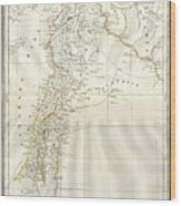 1859 Alabern Map Of Israel, Palestine, Or Holy Land And Syria In Ancient Times Wood Print