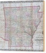 1859 Colton Pocket Map Of Arkansas  Wood Print