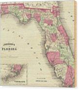 1864 Florida Map Color Wood Print
