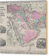 1866 Johnson Map Of Arabia Persia Turkey And Afghanistan Iraq Wood Print