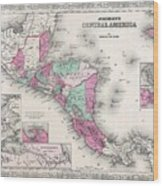 1866 Johnson Map Of Central America Wood Print