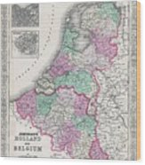 1866 Johnson Map Of Holland And Belgium Wood Print