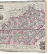 1866 Johnson Map Of Kentucky And Tennessee  Wood Print