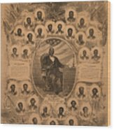 1868 Commemorative Photo Collage Wood Print