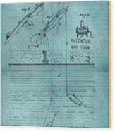 1868 Fishing Tackle Patent Blue Wood Print
