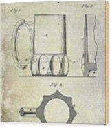 1873 Beer Mug Patent Wood Print