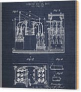1877 Bottling Machine Patent - Navy Blue Wood Print