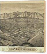1877 Santa Barbara California Map Wood Print