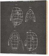 1878 Baseball Catchers Mask Patent - Gray Wood Print by Nikki Marie Smith
