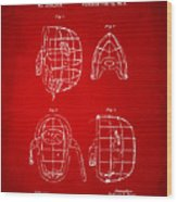 1878 Baseball Catchers Mask Patent - Red Wood Print by Nikki Marie Smith