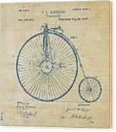 1881 Velocipede Bicycle Patent Artwork - Vintage Wood Print