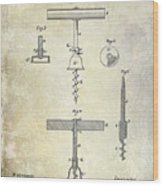1884 Corkscrew Patent Wood Print