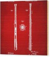 1885 Baseball Bat Patent Artwork - Red Wood Print