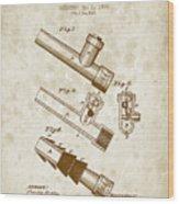 1885 Fire Escape Patent - Vintage Brown Wood Print