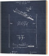 1885 Tuning Fork Patent - Navy Blue Wood Print