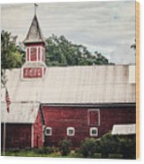 1886 Red Barn Wood Print by Lisa Russo