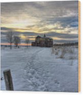 1888 Barn In Winter 01 Wood Print