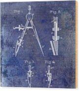1888 Draftsmans Compass Patent Blue Wood Print