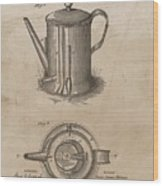 1889 Coffee Pot Patent Illustration Wood Print