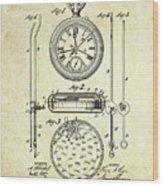 1889 Stop Watch Patent Art S. 1 Wood Print