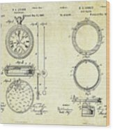 1889 Stop Watch Patent Art Sheets 1-2 Wood Print