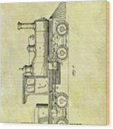 1891 Locomotive Patent Wood Print