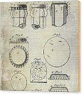 1892 Bottle Cap Patent  Wood Print