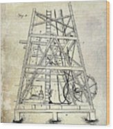 1893 Oil Well Rig Patent Wood Print