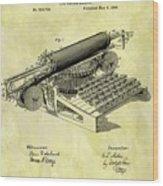 1896 Typewriter Patent Wood Print