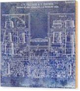 1897 Beer Brewering Patent Blue Wood Print