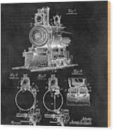 1898 Locomotive Headlight Patent Wood Print