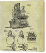 1898 Locomotive Patent Wood Print