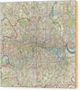 1899 Bartholomew Fire Brigade Map Of London England  Wood Print