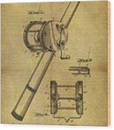 1899 Fishing Reel Patent Wood Print