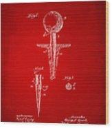 1899 Golf Tee Patent Artwork Red Wood Print