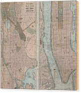 1899 Home Life Map Of New York City  Manhattan And The Bronx  Wood Print