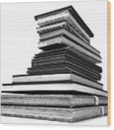1.8.stack-of-sketch-books Wood Print