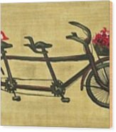 18x36 Premium Gallery Tandem Bicycle Painting With Red Birds Red Flowers Wood Print