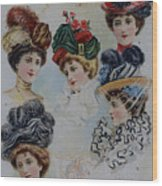 19 Century Ladies Hats The Delineator Early Autumn Hats Wood Print