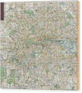 1900 Bacon Pocket Map Of London England  Wood Print