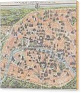 1900 Garnier Pocket Map Or Plan Of Paris France Eiffel Tower  Wood Print
