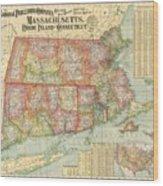 1900 National Publishing Railroad Map Of Connecticut Massachusetts And Rhode Island  Wood Print