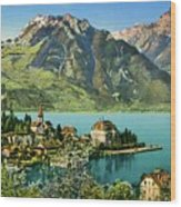 1900s Switzerland Swiss Alps Spiez Mit Ralligstoecke Wood Print