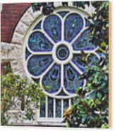 1901 Antique Uab Gothic Stained Glass Window Wood Print by Kathy Clark